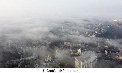 vue ville, brouillard, aérien