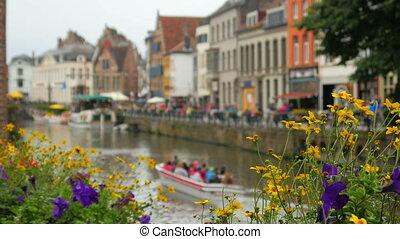 "vue, ville, ""ghent, 4k"", belgique"