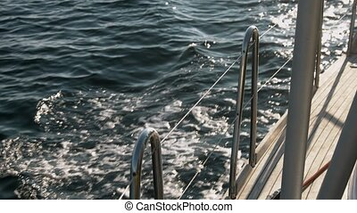 vue, yacht, mer, pont