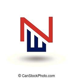 w, initiale, n, vecteur, lettre, logo