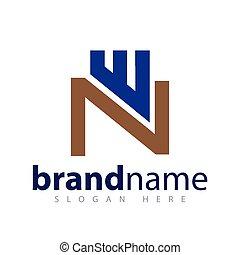 w, initiale, n, vecteur, lettre, logo, icône