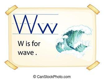 w, lettre, vague