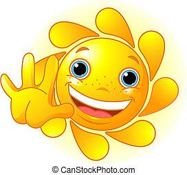 waiving, mignon, bonjour, soleil