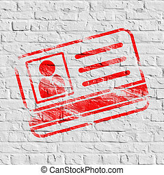 wall., blanc rouge, brique, carte identification, icône