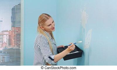 wall., fleurs, peinture, femme