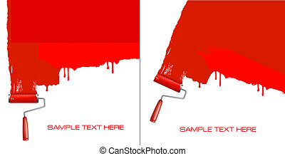 wall., peinture, rouleau, blanc rouge