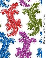 wallpaper., art, coloré, lézards, modèle, sommet, emballage, seamless, stylisé, reptiles, vecteur, papier, zoologie, vue.