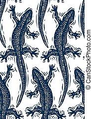 wallpaper., art, lézards, modèle, sommet, emballage, seamless, stylisé, reptiles, vecteur, papier, zoologie, vue.