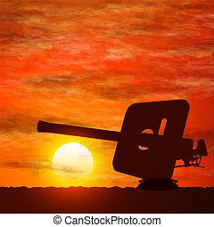 war., fusil, symboliser, silhouette