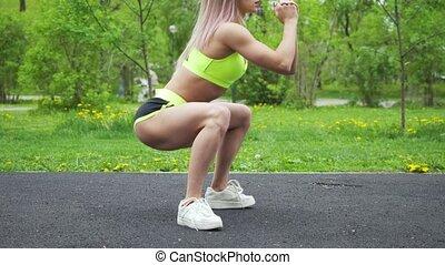 warmup, jambes, style de vie, avant, sain, fitness, séance entraînement, femme