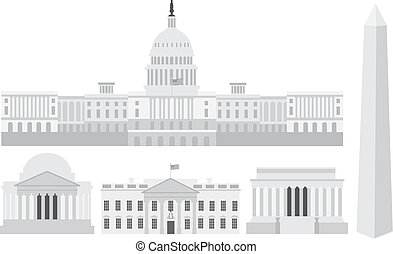 washington, bâtiments, monuments commémoratifs, capitole, dc