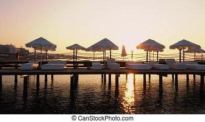 water., fond, mer, coucher soleil, jetée, calme