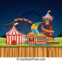 waterpark, cirque, scène, nuit