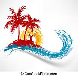 wave., contre, océan, coucher soleil, arbres, paume, homme