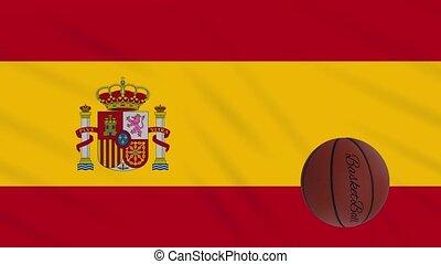 wavers, boucle, basket-ball, drapeau espagne, tourne