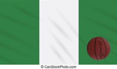 wavers, boucle, basket-ball, drapeau nigéria, tourne