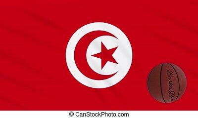 wavers, boucle, basket-ball, drapeau tunisie, tourne