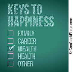 wealth., clés, conception, bonheur, illustration