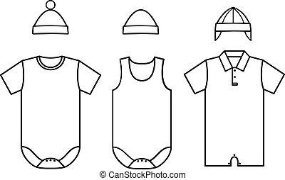 wear., bébé, ensemble, vecteur, enfant