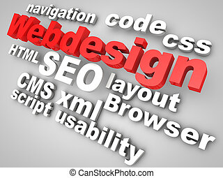 webdesign, pertinent, entouré, mots, rouges