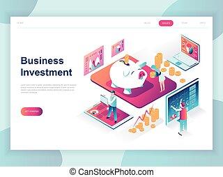 website., page, plat, moderne, investissement, template., business, bannière, concept, isométrique, conception, atterrissage