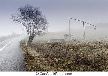 weel, solitaire, petit, brumeux, ferme, matin, roumanie, provincial, village, transylvania, sic, poteau