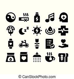 wellness, glyph, icônes
