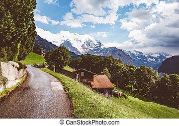 wengen., scénique, lauterbrunnen, environs, endroit, recours, suisse, alpe, valley., emplacement
