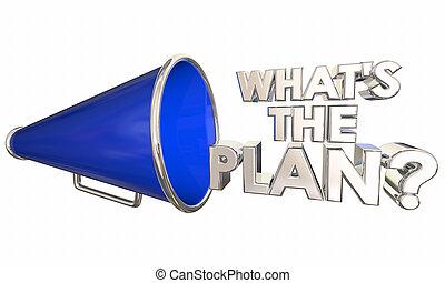 whats, question, illustration, bullhorn, plan, mots, porte voix, 3d