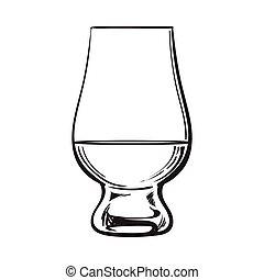 whisky, écossais, verre, nosing, rhum, cognac