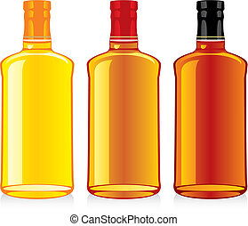 whisky, bouteilles, isolé