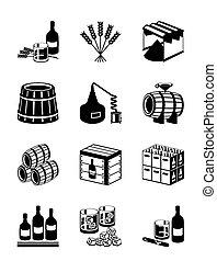 whisky, cognac, production