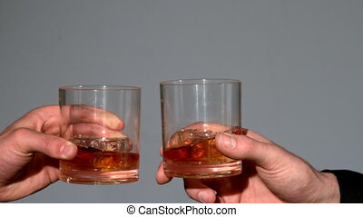whisky, lunettes, hommes, tintement