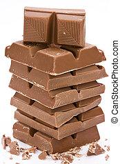 white., chocolat, carrés, empilé