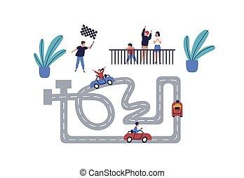 white., divertissement, équitation, ensemble, karting, avoir, garçon, joyeux, course, illustration., actif, enfants, isolé, voiture famille, loisir, concurrence, amusement, girl, vecteur, plat, heureux, apprécier