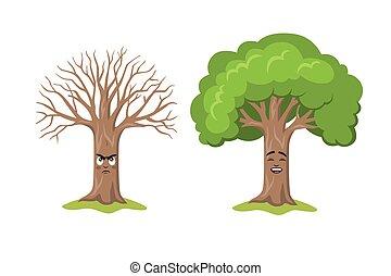 white., heureux, dessin animé, deux, négatif, isolé, triste, arbre, positif, caractère, concept, pensée