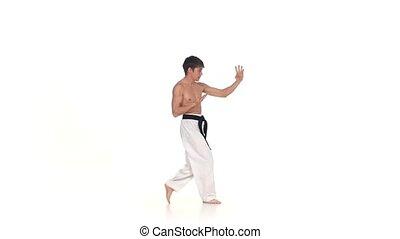white., karaté, exécute, mouvement, isolé, lent, taekwondo, ruses, ou