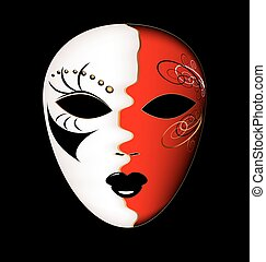 white-red, masque, carnaval