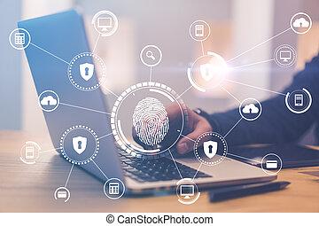 wih, empreinte doigt, biométrie, technologies, protection, homme, main, concept, numérique, intelligent, ordinateur portable, icônes, fond