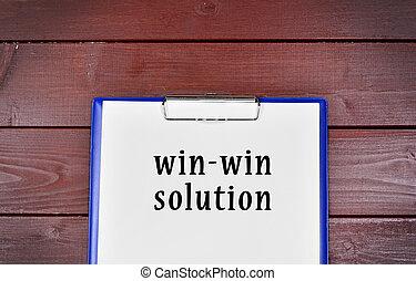 win-win, concept, écrit, solution, papier