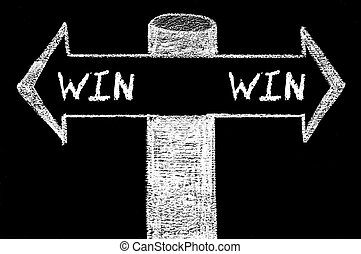 win-win, flèches, opposé, solution