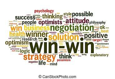 win-win, mot, solution, étiquette, nuage blanc