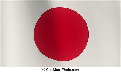 wind., réaliste, seamless, onduler, faire boucle, drapeau, japon, 3d