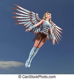 wings., énorme, coupure, ange, fantasme, sur, rendre, femme, sentier, ombre, blanc, 3d