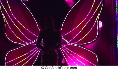 wings., charmer, papillon, incandescent, haut., femme, exposition, original, multicolore, night., formulaire, exécute, studio, théâtral, fin