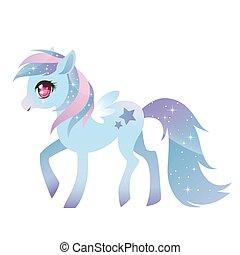 wings., poney, coloré