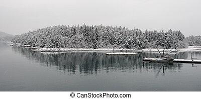 winter., bateau pêche