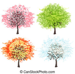 winter., beau, art, illustration., printemps, automne, -, arbre, quatre, vecteur, saisons, ton, été, design.