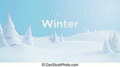 winter., bonjour, paysage, neigeux