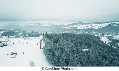 winter., montagnes, coup, méridional, neige, pologne, recours, tatra, ski, couvert, aérien, ski incline, moule, alpin